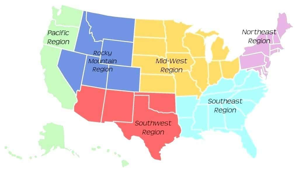 USA Map of regions for baby car seat safety laws