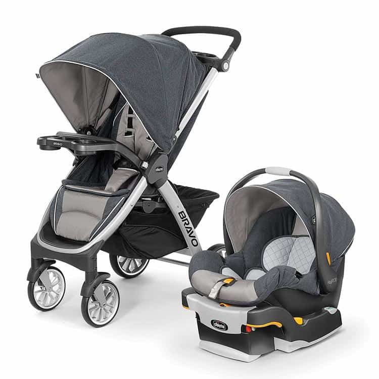 Chicco Bravo Trio Travel System with Full Size Stroller Convertible Frame Stroller One-Hand Compact Fold Extendable Canopy and KeyFit 30 Infant Car Seat